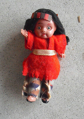 """Vintage 1930s Celluloid Ethnic Girl Character Doll 3 1/2"""" Tall"""