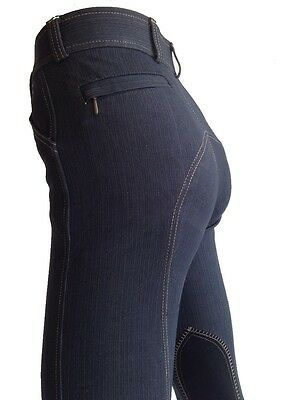 Girls Denim Jodhpurs, Blue Jodphurs, Denim Riding Pants Suede Knee  6 8 10 12 14
