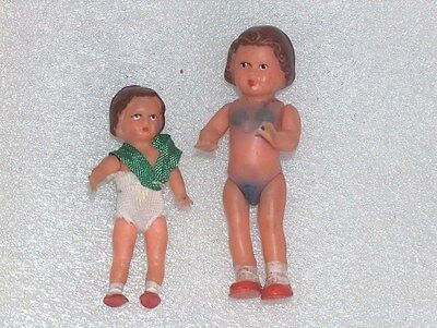 Pair Of 2 Cute Vintage Antique Ari Small Rubber Dolls,germany,one Of Them Marked