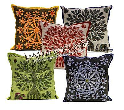 25 Indian Embroidered Patchwork Ethnic USA Pillow Cushion Covers Wholesale Lot