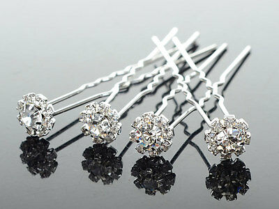 10x Wedding Bridal Diamante Crystal Hair Pins Silver Flower Girl Formal Deb .8cm