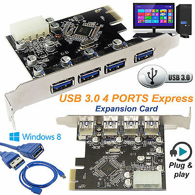 High Speed USB 3.0 2.0 PCI-E PCIE 4 PORTS Express Expansion Card Adapter UK Sell