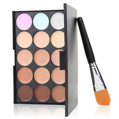 15 colori Concealer Eyeshadow Contour Palette Brush Sponge Face Makeup Set FIT
