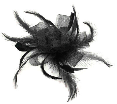 Navy Blue Flower Feather Hair Fascinator Races Ascot Wedding Slide in Comb 31c
