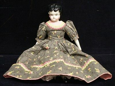 "Civil War Era Antique China Head Doll 15"" Porcelain Arms & Legs Dressed Lady"
