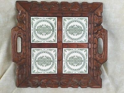 Mexican Tile Trivet Tray-Hand Carved Wood Frame-UNIQUE Ivory And Green Tile
