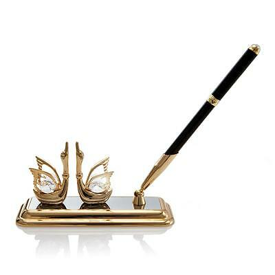 24K Gold Plated Mini Swan Pen Set Made with Genuine Matashi Crystals