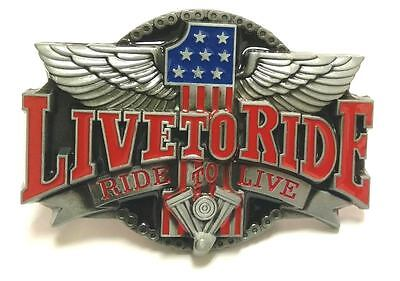 Live To Ride-Ride To Live Belt Buckle Biker Motorcycle Rider Harley Pewter