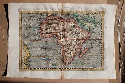 Africa Continent Abyssinia Congo Nubia Madagascar Engr. Map 400 Years Old 1596