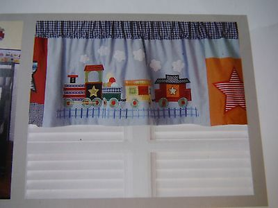Kidsline T Is For Train  Valance  Trains Denim   New In Package