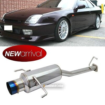 Fit 92-96 Prelude Stainless Steel Bolt On Axle Back Exhaust Muffler Green Tip