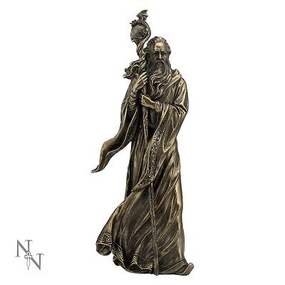 Merlin the Wizard Figurine Statue Ornament Bronze Finish With Dragon Staff 28cm