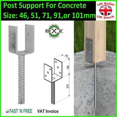 """Galvanised (""""U"""" Shape Pin) Post Fence Foot Anchors Thick:5mm 4 Sizes 51-101mm"""