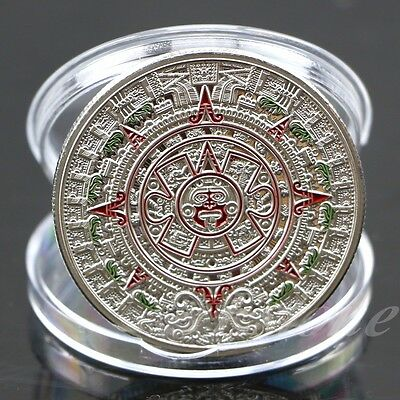Exquisite Mayan Prophecy Aztec Gold Calendar Silver Plated Commemorative Coin