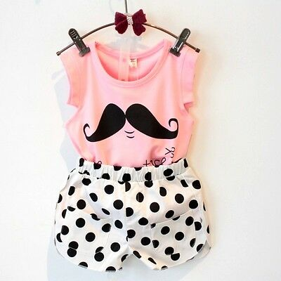 Cute Kids Baby Girls Mustache T-shirt + Dot Shorts Outfits Set Summer Clothes