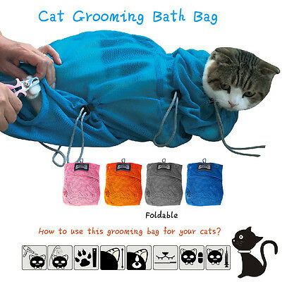 Cat Grooming Bathing Restraint Bag Heavy Duty Polyester Mesh Bag -2 Sizes (S/L)