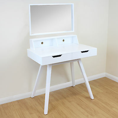 2 Drawer White Vanity/Makeup/Dressing Table Removable Mirror Home Office/Desk