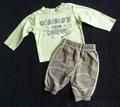 Baby clothes BOY 0-3m M&Co/George outfit apple green top/khaki soft trousers