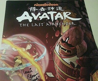 NYCC AVATAR THE LAST AIRBENDER KORRA POSTER SIGNED JESSIE FLOWER TOPH BEIFONG ds