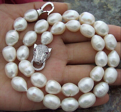 "18"" Classic 11-13mm Real south sea white natural pearl necklace 925 silver"