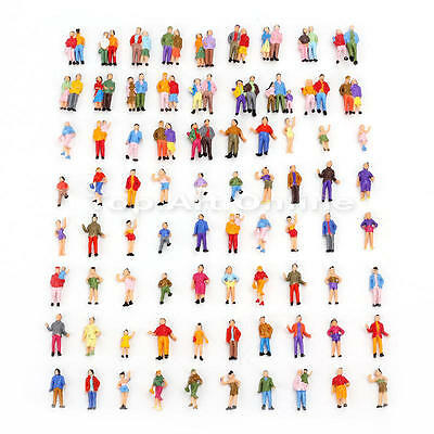 Lot/Set 100 Pcs Painted Train Street Model People Figure 1:87 HO Scale Toy
