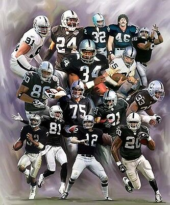 Oakland Raiders : giclee print on canvas poster painting for autograph  B-2105