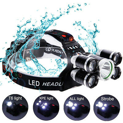 50000LM LED Headlamp CREE XM-L T6 4 mode Headlight Flashlight Camping Lantern