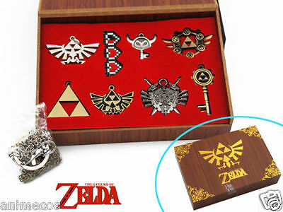 The Legend of Zelda Necklace keychain Pendant 8pcs Set Collection New in Box