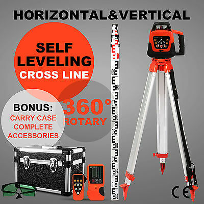 Rotary Laser Green Level With Tripod Staff Cross Line Rotating Self Leveling