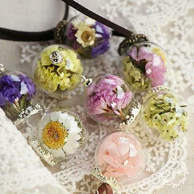 Exquisite Handmade Crystal Glass Ball Flower Necklace Leather Chain Pendant