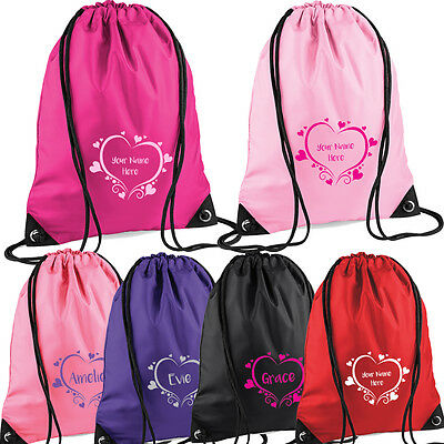 Girls Heart Design PE Drawstring Bag for Swimming Ballet Gymnastics Personalised