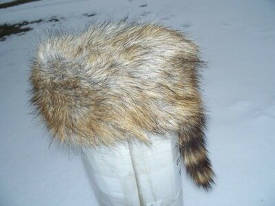 Deluxe coyote Raccoon Tail Hat Coon Skin Cap 1LG