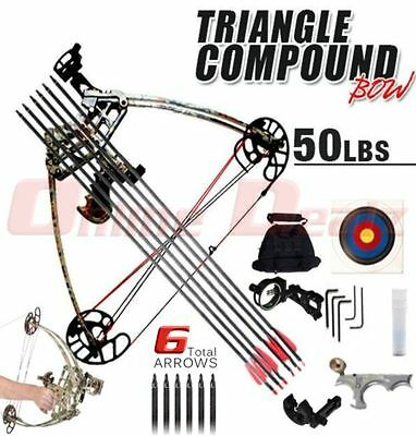 50LBS Magnesium Alloy Triangle Camo Compound Bow Hunting Left or Right Handed 50