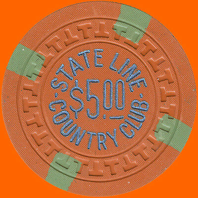 State Line Country Club $5 1953 T-Mold Casino Chip Lake Tahoe Nv - Free Shipping