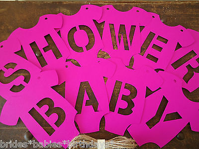 Kraft Hot Pink Bunting Flags Banners Garland Onesies BABY SHOWER Baby Girl S4