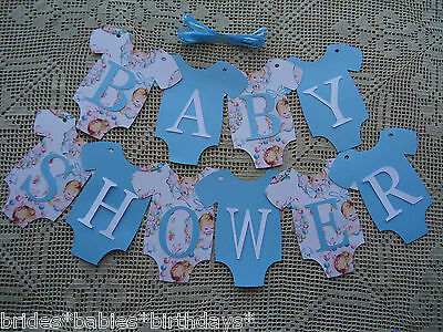 10 Bunting Flags Banners Garland Onesies BABY SHOWER Blue DIY BOY Decoration