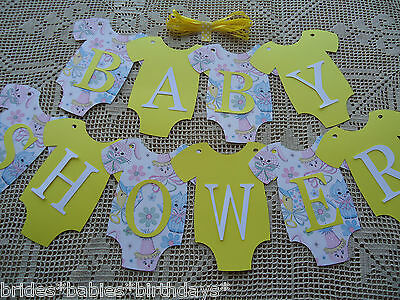 10 Bunting Flags Banners Garland Onesies BABY SHOWER Yellow DIY Unisex Decor