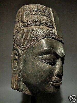 Khmer Sculpture Hardstone Head Of 'hari-Hara' Figure 'phnom Da' Style 7/8Th C