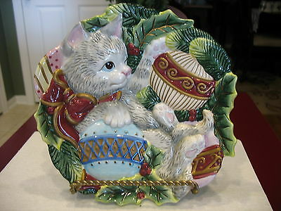 Fitz And Floyd Khristmas Kitty Canape Plate