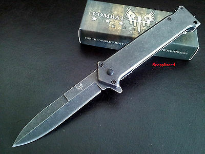 "Stiletto Tactical Combat Style 4-1/2""Flipper Liner Lock Folding Pocket Knife EDC"