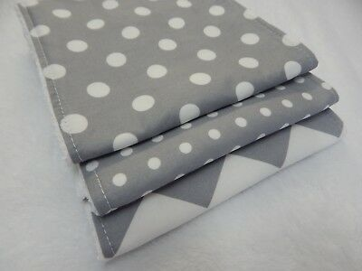Burp Cloths Grey Chevron and Spots x 3 Toweling Backed GREAT GIFT IDEA!!