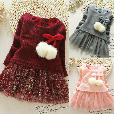 Fancy Baby Girls Knit Sweater Tops Lace Tulle Tutu Bow Party Dresses Clothing
