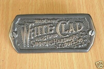 Ice Box Label White Clad Brass Antique Brass