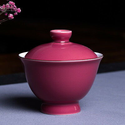 Porcelain tureen ceramic kung fu teaset for her gaiwan lady tea cup lid rose red