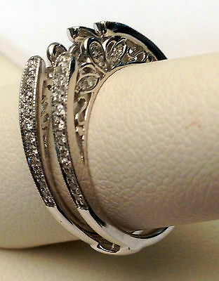 10k White Gold Antique Vintage Cathedral Ring Diamonds Guard Solitaire Enhancer