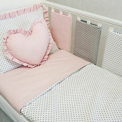 *Luxury & Exclusive Baby Girl Cot Or Cot Bed Bedding Set With Cot Bar Bumpers
