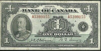 Ottawa issue of 1935 Bank of canada one dollar 1 currency note 38 paper money