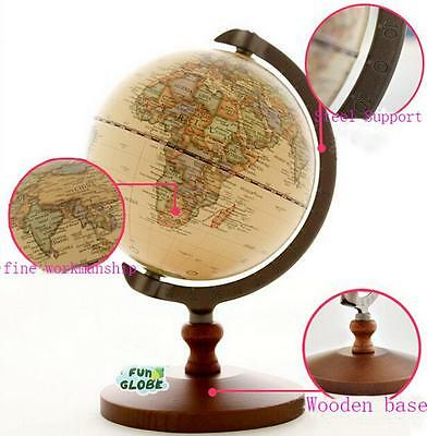 New Antique Style World Globe Earth World Map Atlas Wooden  Stand 21cm Tall Z