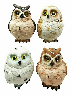 "Great Horned Forest Snowy & Northern Pygmy Owl Figurine Set Of 4 Sculpture 3""H"