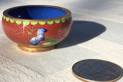 """Vintage Chinese Cloisonne ware SMALL CUP, 1-1/2"""" Wide, 1-1/4""""Tall"""